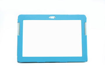 Digital tablet with blue color cover isolated on white background.