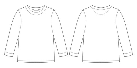 Childrens technical sketch sweatshirt. KIds wear jumper design template isolated on white background. Fotobehang