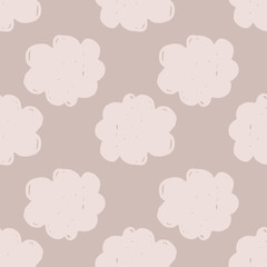 Hand drawn cloudy texture wallpaper. Hand drawn cloud sky seamless pattern.