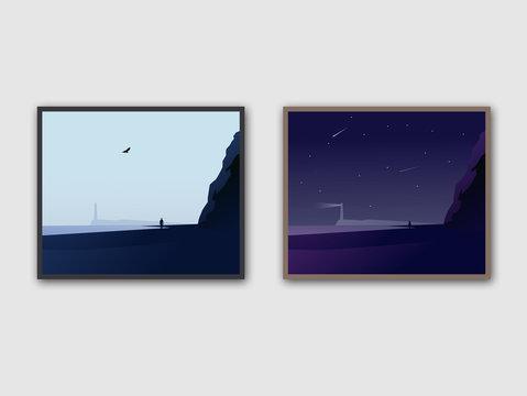 Sea Beach Day Night Preview Vector  Landscape art.  Fantasy vector Illustration