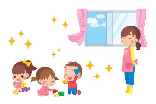 室内で遊ぶ子どもと換気をした綺麗な空気に安心する保育士の女性