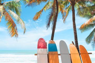 Foto auf Acrylglas Blau Surfboard and palm tree on beach background.