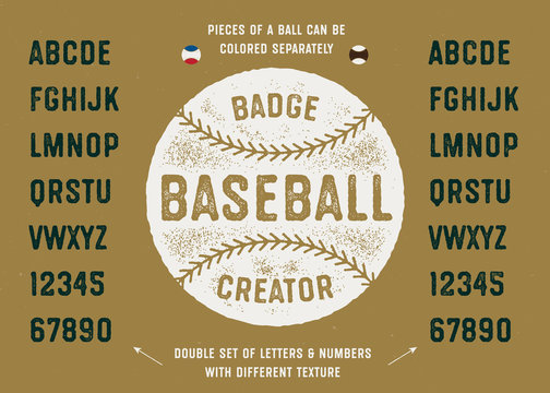 Baseball Badge Creator. Ball Illustration And Vintage Textured Sport Baseball Style Typeface. Varsity Alphabet. Athletic Font. Vector Graphics.