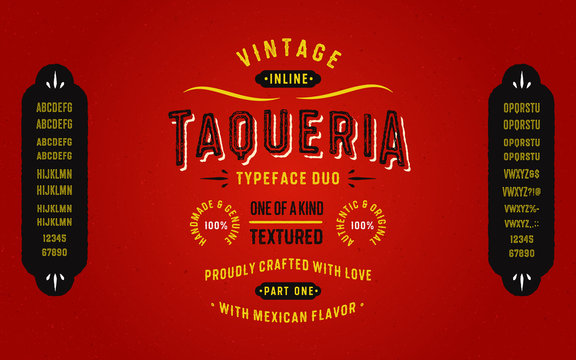 """Vintage Textured Typeface Duo with Mexican Flavour """"Taqueria"""". Part One - Inline Style. Mexican Style Font Alphabet. Retro Lettering."""