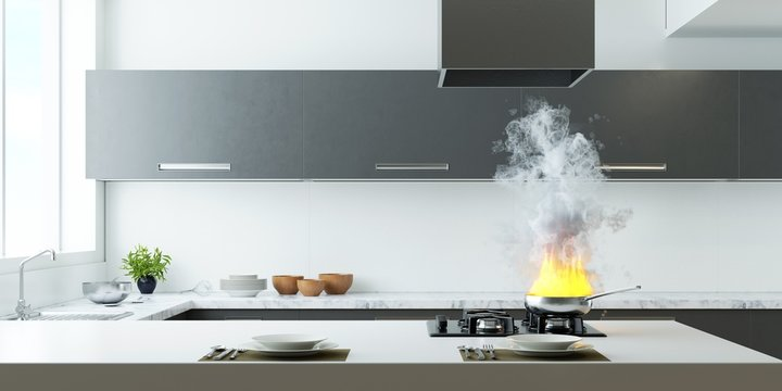 Fire In Pan At Home