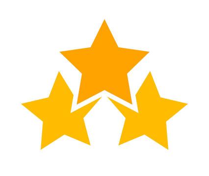 three stars icon cute isolated on white background, cartoon star shape yellow orange, illustration simple star rating symbol, clip art 3 star for logo, pentagram star for decoration ranking award
