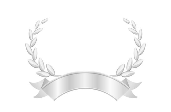 silver laurel wreath and ribbon isolated on white, circle frame silver laurel wreath icon, vintage ribbon and silver laurel wreath luxury for ornament royal king crown or queen, copy space of ribbon