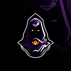 Warlord with Purple Hood esport logo gaming
