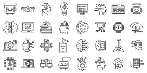 Science machine learning icons set. Outline set of science machine learning vector icons for web design isolated on white background