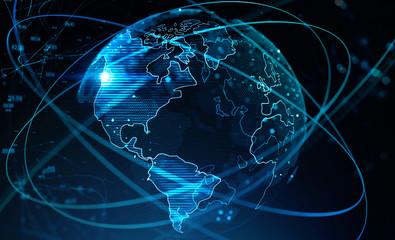 Fotobehang - Internet and global network interface
