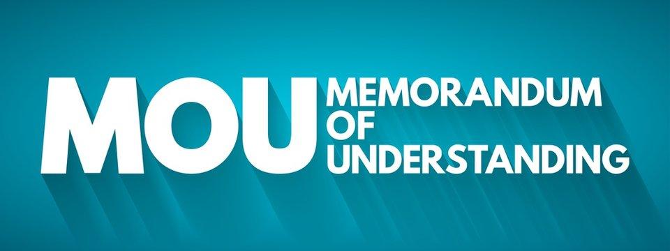 MOU - Memorandum Of Understanding acronym, business concept background