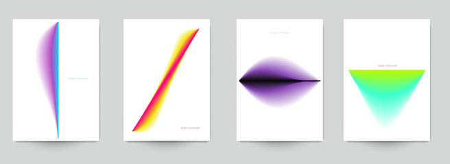 Set of abstract minimal template design for branding, advertising in colorful gradient blur style. Modern trendy background cover posters, banners, flyers, placards. Vector illustration. EPS 10.