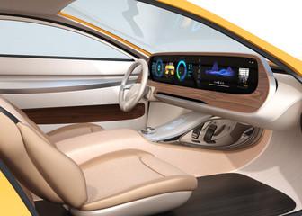 Interior of self-driving electric car equip with wide digital multimedia screen. Generic design. 3D rendering image.