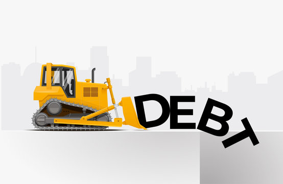 Yellow dozer push the word debt to the pit. Debt relief financial freedom concept. Vector illustration.