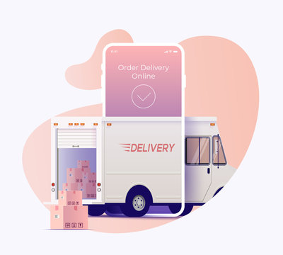 Delivery truck arrives through smartphone screen display with opened trunk and packages outside. Order and track delivery online service banner design concept. Vector illustration.