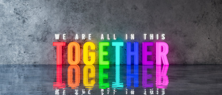 WE'RE ALL IN THIS TOGETHER rainbow-colored text sign on concrete wall 3d render 3d illustration