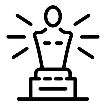 Oscar trophy icon. Outline oscar trophy vector icon for web design isolated on white background