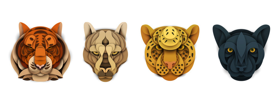 Set of cartoon wild animal head in trendy paper cut craft graphic style. Tiger, cougar, leopard, panther. Modern design for advertising cover, poster, banner. Vector illustration