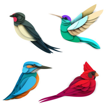 Set of cartoon colorful birds in trendy paper cut craft graphic style. Swallow, hummingbird, red cardinal, king fisher. Modern design for advertising cover, poster, banner. Vector illustration