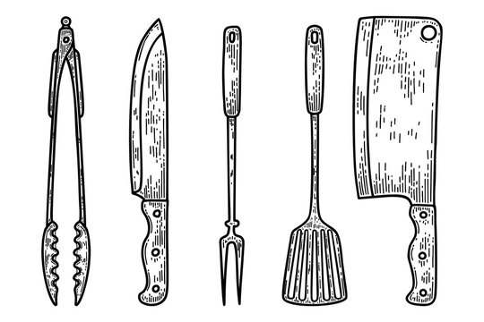 Set of illustrations of kitchenware in engraving style. Kitchen knife, fork, meat cleaver. Design elements for logo, label, sign, poster, t shirt. Vector illustration