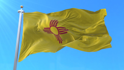 Flag of american state of New Mexico, region of the United States, waving at wind