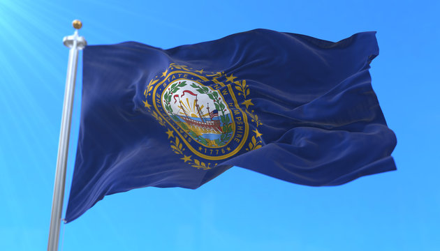 Flag of american state of New Hampshire, region of the United States, waving at wind