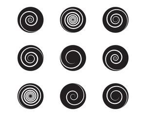Spiral and swirl motion twisting circles design element set. Vector illustration
