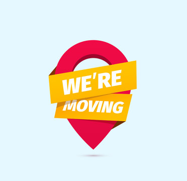 We are moving isolated vector icon. Information of relocation sign on white background