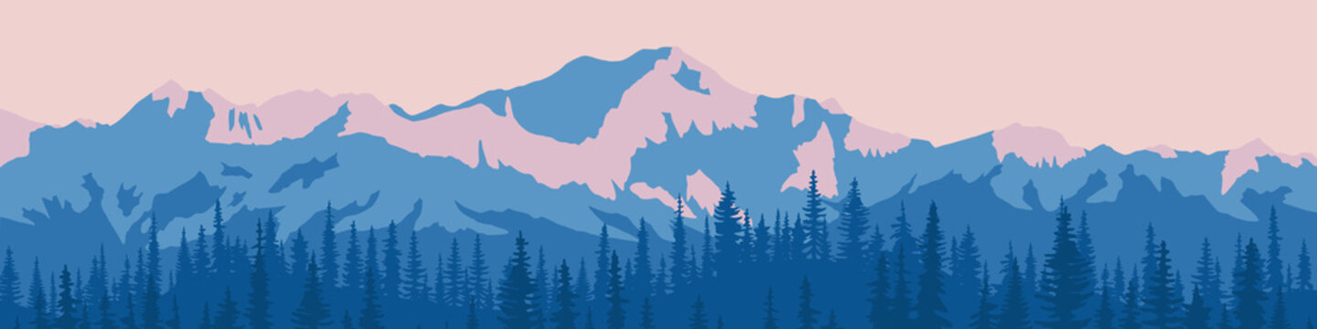 Vector illustration of mountains, panoramic view. Ridge in the morning haze, snow-capped peaks, forest.