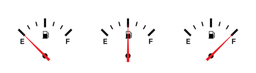 Fuel gauge indicator. Vector isolated illustration icon. Gasoline indicatior vector collection icons. Gas meter set elements. Fototapete