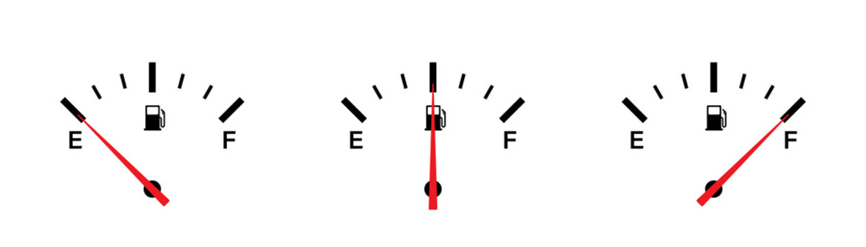 Fuel gauge indicator. Vector isolated illustration icon. Gasoline indicatior vector collection icons. Gas meter set elements.