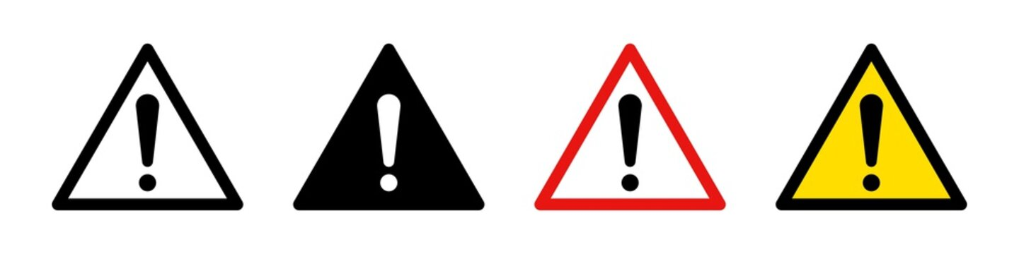 Attention caution danger signs. Vector isolated icon. Se of attention signs. Collection vector danger icons isolated on white background.