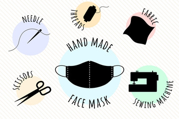 Hand made medical face mask. Items that are needed for sewing a protective face mask yourself.Needle and thread, spool of thread, fabric, sewing machine, scissors.Sew the mask yourself.Vector Wall mural
