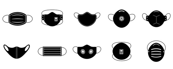 A set of medical face masks. Various protective masks against viruses, dust and respiratory diseases.Protection from coronavirus.Vector illustration, black and white flat. Fotoväggar