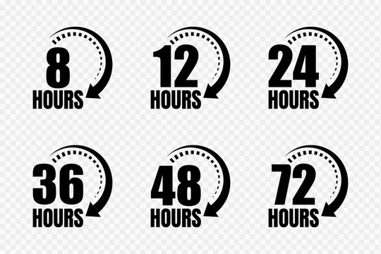 8, 12, 24, 48 and 72 hours clock arrow vector icons. Delivery service, online deal remaining time website symbols. Vector illustration.