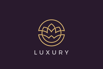 Wall Mural - Flower circle Logo abstract design vector template Luxury linear outline style. Cosmetics Fashion SPA Jewelry Logotype concept icon