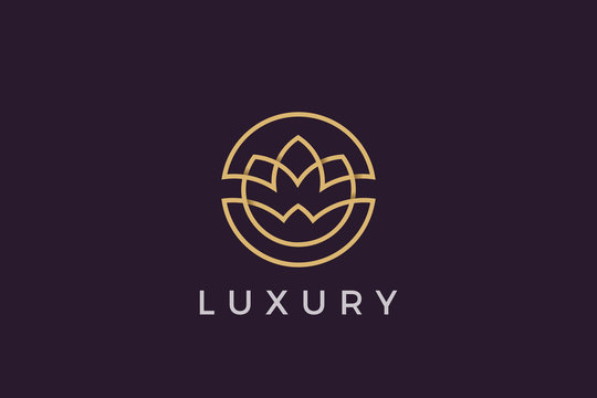 Flower circle Logo abstract design vector template Luxury linear outline style. Cosmetics Fashion SPA Jewelry Logotype concept icon