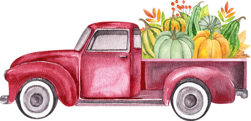 Watercolor retro truck with harvest - pumpkin vegetables. Hand painted vintage retro car illustration perfect for thanksgiving card making, wedding invitation and fall autumn postcards
