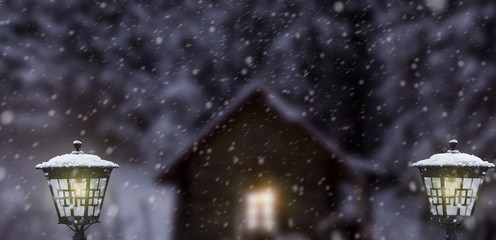 Fotomurales - winter blizzard with houses lanterns in snowfall at moon night.