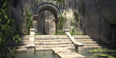 Ruins of the sacred temple with green vegetation. Beautiful natural wallpaper. 3D illustration.