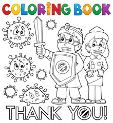 Photo sur Plexiglas Enfants Coloring book thanks to doctor and nurse