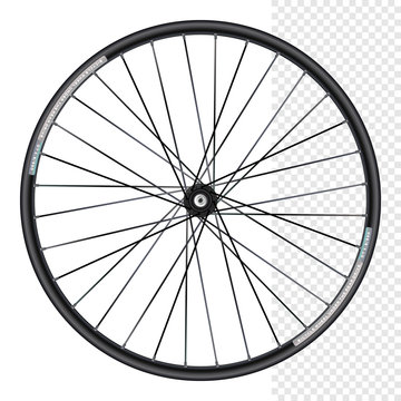 Bicycle wheel under the rear drive.  Mountain Bicycle Wheel Rims. Bicycle wheel isolated on white.