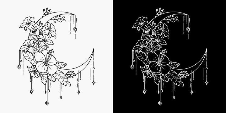 moon and flower tattoo, monoline design