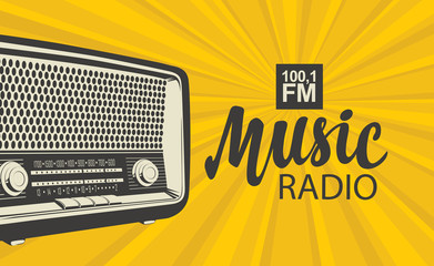 Vector poster for radio station with an old radio receiver and inscription Music radio on the background with yellow rays. Radio broadcasting banner in retro style