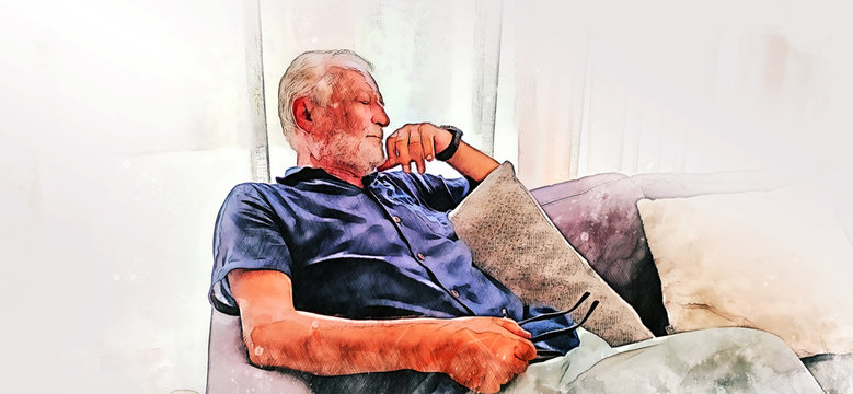 Abstract colorful sernior man sitting and playing mobile phone alone at home on watercolor illustration painting background.