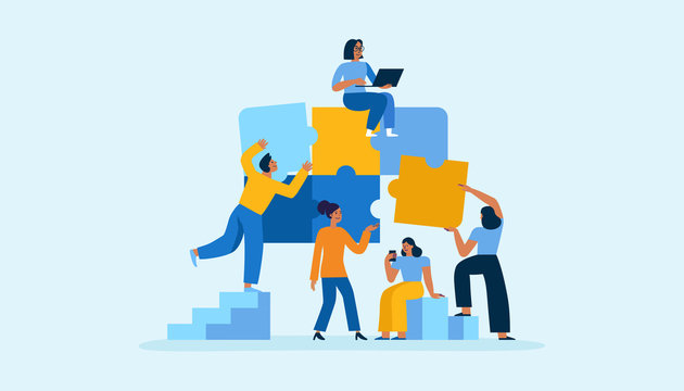 Vector illustration in simple flat style - teamwork and development concept - people holding  abstract geometric shapes and puzzle pieces - organisation and management