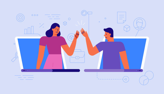 Vector illustration in simple flat style with chatacyers - video conference and online meeting interface - teamwork and development concept - banner and infographics design template