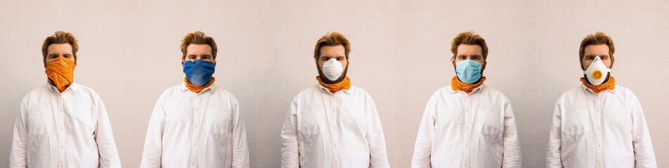 Covid-19 pandemic fashion style concept of panorama photography one man portrait in different face mask protection tool and ordinary white shirt on neutral background space advertising Papier Peint