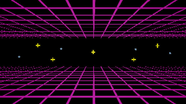 Retro cyberpunk style 80s game scene pixel art 8-bit sci-fi background. Futuristic with laser grid landscape. Digital cyber surface style of the 1980`s. 3D illustration