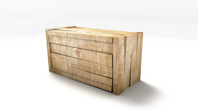 wooden box isolated on white background 3d concept bright